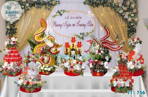 Tráp ăn hỏi 7 lễ Rồng Phượng 7T-756