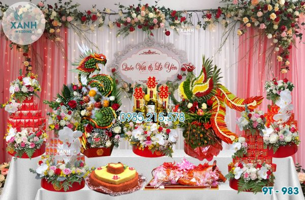 Tráp ăn hỏi 9 lễ Rồng Phượng 9T-983